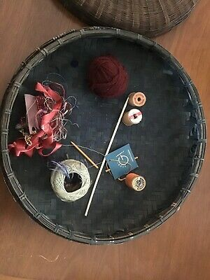 Vintage Antique Chinese Wicker Sewing Basket w/ Beads & Coins W/ Antique Spools 3