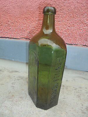 27729 Glasflasche Heinrich Feilner Hof i. B vor 1900 25cm vint Bottle mouthblown 6