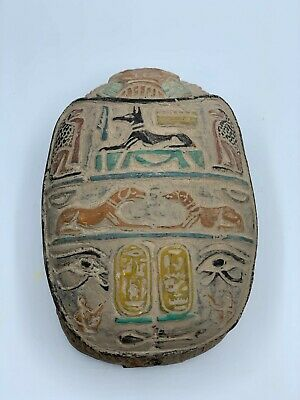 EGYPTIAN ANTIQUES EGYPT ANUBIS God SCARAB Beetle STELA Relief Carved STONE BC 2