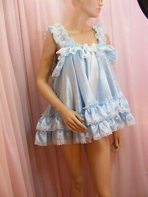 ADULT baby sissy blue satin babydoll negligee nightie dress fancydress unisex 3