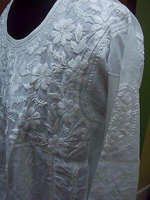 M L Xl Artisan Ethnic Chikan Embroidery 100% Cotton Handmade Kurti Kurta Top