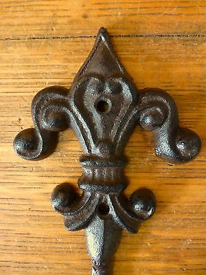 "4 BROWN ROYAL FLEUR DE LIS FINIAL WALL HOOKS 6.5"" ANTIQUE-STYLE CAST IRON decor 7"