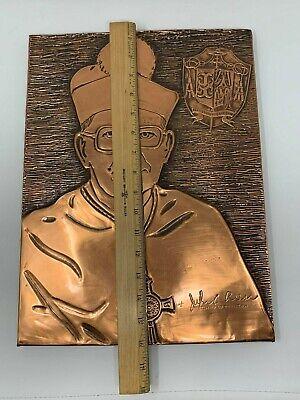 Vintage Trenton de Obispo John C. Reiss Hecho a Mano Cobre Tallado Pared Art 12