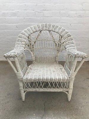 Vintage Children's Wicker White Chair, Good Condition! $150 2