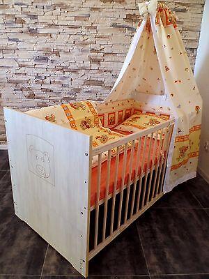 Babyzimmer KOMPLETT Schrank Baby BettSet 5 Farben Kommode Farbe weißgrau Gravur