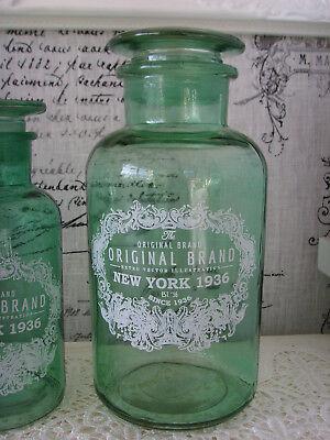 1 Apothekerflasche Flasche Glasflasche Shabby  Landhaus Vintage Jade 1 Liter