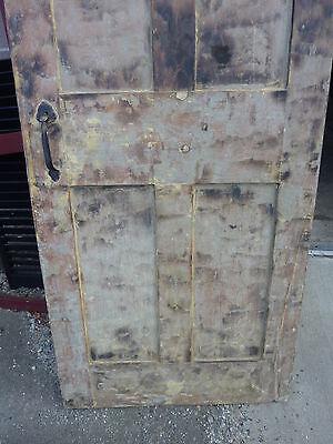 "Early 19th century RAISED panel door w/ SMOKED design decor 76 x 30 x 1 7/16"""