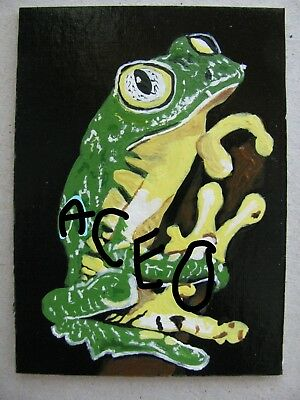 """A871    Original Acrylic Aceo  Painting By Ljh        """"Octopus"""" 8"""
