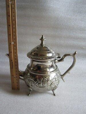 Rare Antique Moroccan Arabic Islamic Handmade Silver Alloy Tea Pot Kettle Signed 2