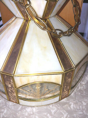 Kitchen Cabin Chandelier Stain Leaded Glass With Dry Flowers Inside 5