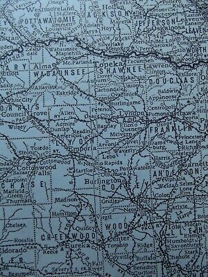 Vintage Map: Kansas, United States, by Emery Walker, 1926, B/W 4
