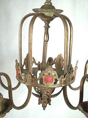 Antique Victorian Art Nouveau Gilt Metal Serpentine Arm 5 Light Chandelier 2