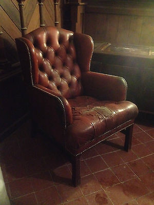 Good Wing Back Chesterfield Style Leather Oxblood Red Vintage Armchair Button 2