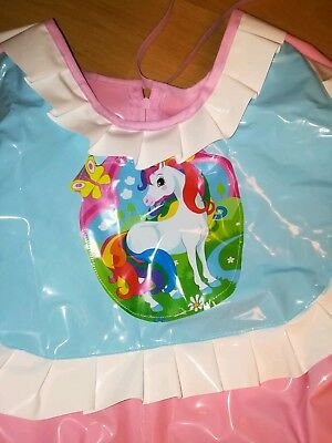 Adult Baby Kleid Windelhose Gummihose Sissy PVC LACK Diaper Plastik EINHORN XL 4