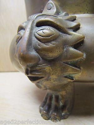 Old Figural Brass Planter Pot Urn detailed heads feet wonderful aged patina 3