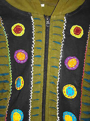 Children boy girl hippie festival Nepal razor cut pixie hood jacket small NEW 5