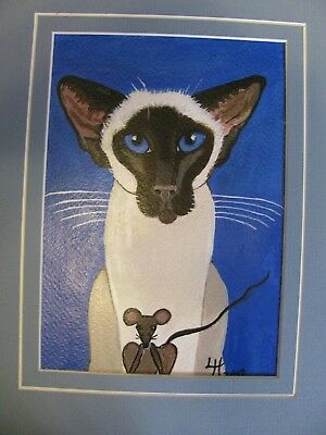 """A654     0Riginal Acrylic Aceo Painting By Ljh """"Oriental Shorthair"""" Cat Kitten 5"""