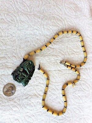 Pre Columbian Mayan Dark Green Jade 2 Face Head Man Necklace Pendant W/Chain 3