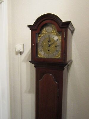 Edwardian period three train weight driven 1/4 striking grandmother clock. 2