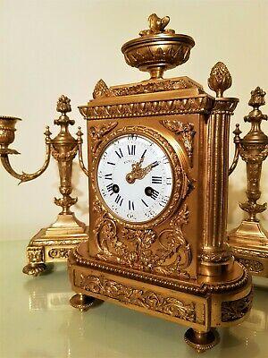 19Th Century French Ormolu Bronze Mantel Clock Garniture. 4