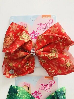 "pcs ✨ NEW Jojo Siwa 8"" Large Snowflake Girls Hair Bows Christmas Theme 2 ✨"