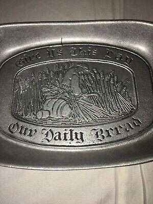 WILTON Pewter Give Us This Day Our Daily Bread Tray Dish Plate Colombia PA 2