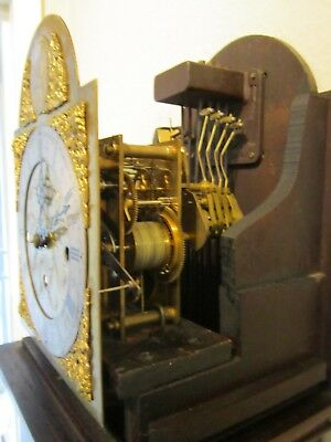 Edwardian period three train weight driven 1/4 striking grandmother clock. 8