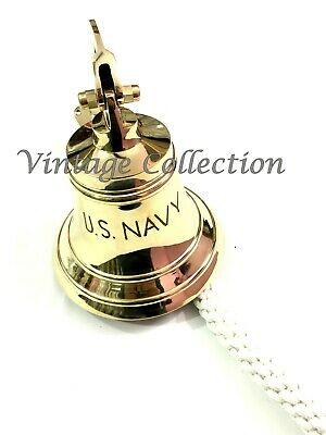 Brass Ship Bell with Rope Lanyard Pull ~ Nautical Maritime Home Wall Decor 3