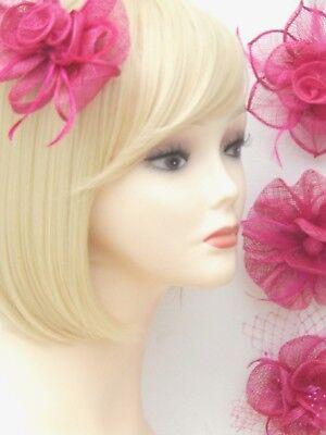 Fuchsia Pink Fascinator Brooch Clip Hair Feather Flower Wedding Ladies Day Races 2