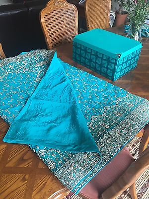 Indian Bridal Engagement Wedding Sari Blue Green Turquoise 3 Piece Dupatta Heavy 4