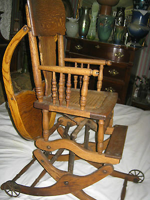 Primitive Antique Wicker Baby High Chair Rocker Stroller Cast Iron Toy Wheels 8