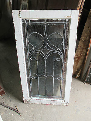~ ANTIQUE AMERICAN STAINED GLASS WINDOW ~ 22.75 x 43 ~ ARCHITECTURAL SALVAGE ~ 9