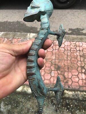 2 medium SKULL handle DOOR PULL spine solid brass old vintage aged GREEN 28cm B 7