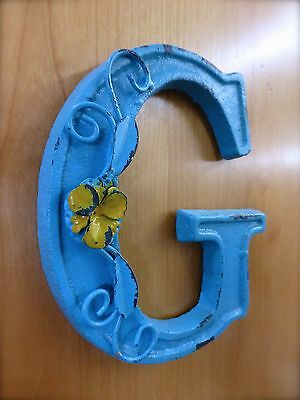 "BLUE CAST IRON WALL LETTER ""G"" 6.5"" TALL rustic vintage decor sign child nursery 2"