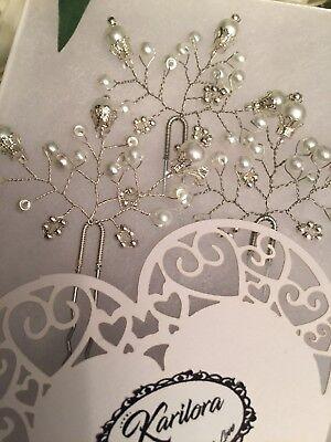 3 Bridal Silver White Hair Pins Wedding Hair Accessories