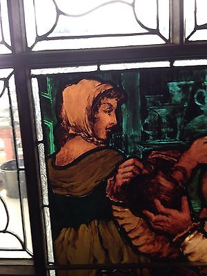 Sg 2 Antique Painted And Fired Figural Stainglass Window 1888 3