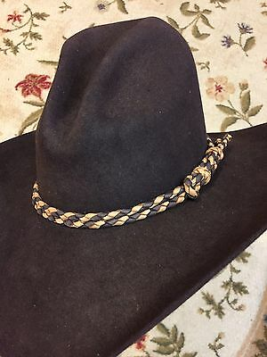 b81c8b7b14e ... Handmade Hat Band Braided Leather Western Hatband Stampede Set Buckskin  Brown 2