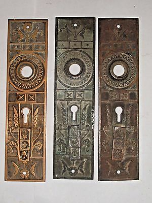 Antique Eastlake Double Key Entry Door Knob Backplates stamped 876A 3