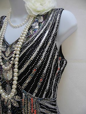 1920's Style Gatsby Vintage Charleston Sequin Beaded Flapper Dress 8 10 12 14 16