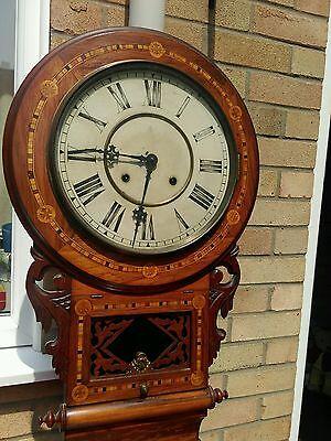 Antique American tunbridgeware inlaid superior 8 day wall clock ornate walnut? 2