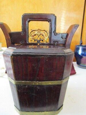 Antique Chinese Wedding Basket Hidden Wood Lock w/Gold Carved Figures Brass Band 2