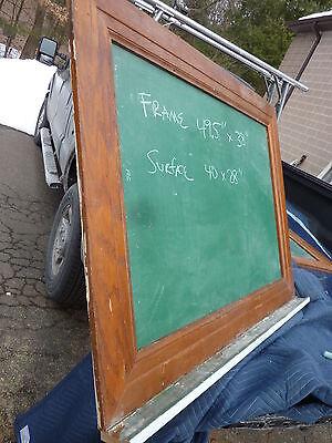 """early 20th century schoolhouse SLATE chalkboard FRAMED OAK molding 49.5"""" x 38"""" 7"""