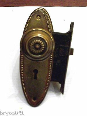 Antique Corbin Mortise Lock Egg and Dart Plates And Matching Knobs 3