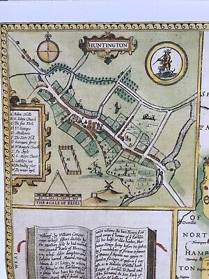 Old Antique Tudor map Huntingdonshire, Ely, England: John Speed 1600's Reprint 3