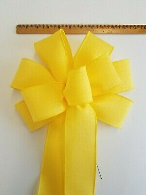"""Large 9-10/"""" Handmade Bright Yellow Wreath Wired Bow Bows Spring Swag Easter"""