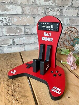 personalised wooden xbox controller and headset stand 5