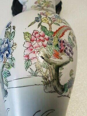 🔅 chine vase a décor oiseaux, papillons, floral à identifier 8