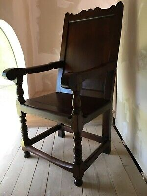 Rare Carved Early 18th Century Mahogany Wainscot Throne Joined Open Arm Chair 9