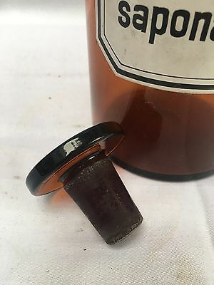 alte Apothekerflasche Braunglas Gefäß Apotheke 22cm Spir.saponat.camph. #99