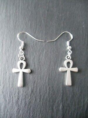 Egyptian Ankh Earrings 925 Sterling Silver Hooks Good Luck Charm Key of Life 4